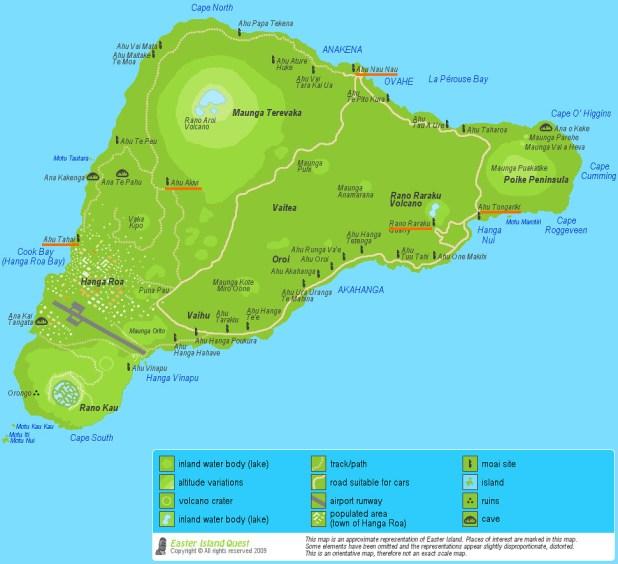 Mapa con los principales moais en Isla de Pascua
