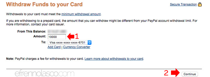How to withdraw paypal funds in the philippines step 3