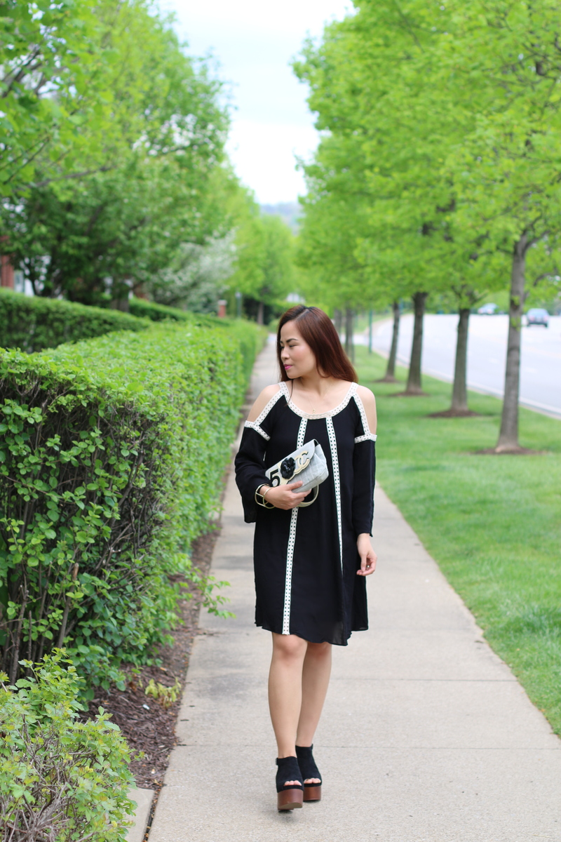 Neiman Marcus, black dress, cold shoulder, crochet trim, chanel bag, f21 wedge sandals