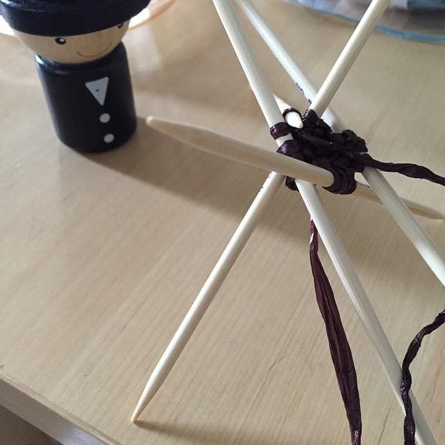 初アンダリヤ棒針 × 初ギンガム短針 × 初棒針モチーフ  無事完成するかしら
