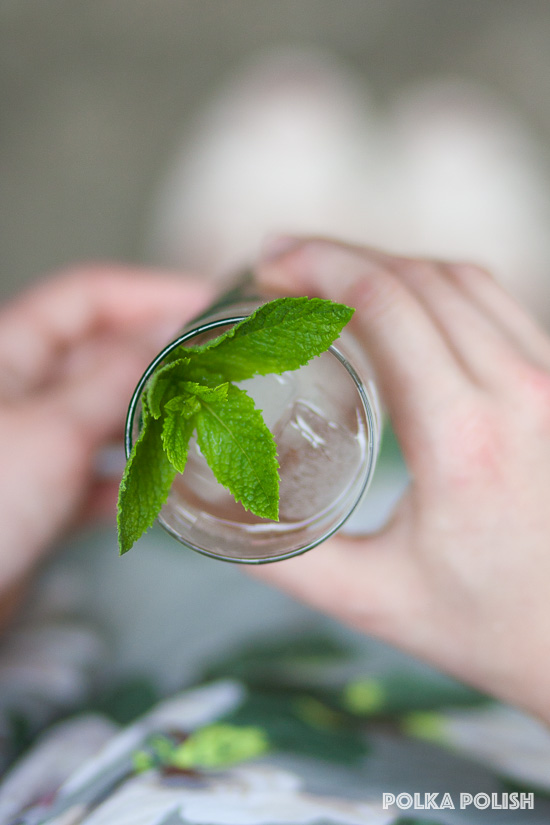 Rhubarb Mojito with fresh mint