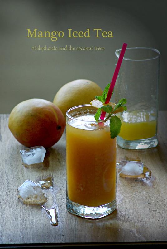 mango iced tea made by elephants and the coconut trees