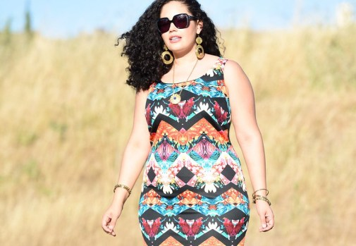 Mirror Print Dress, plus size fashion