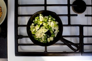 lightly cook the scallions and garlic