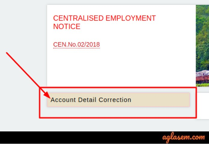 RRB Group D Account Detail Correction