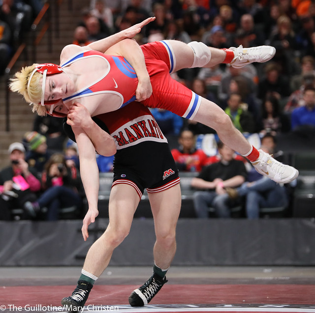 132AA 1st Place Match - Ryan Sokol (Simley) 51-0 won by fall over Charlie Pickell (Mankato West) 47-2 (Fall 5:56) - 190302BMC4415