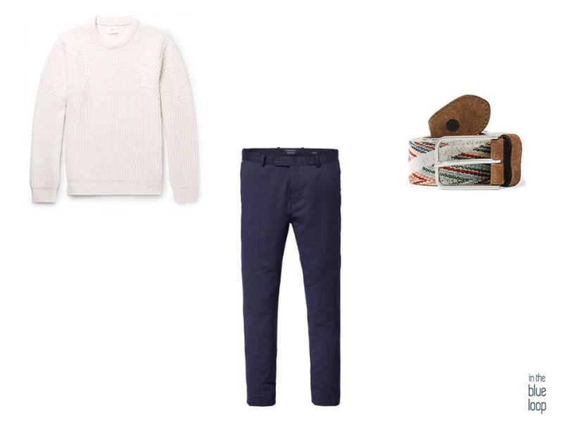 Pull en tricot beige avec un pantalon chino bleu et une ceinture bleue longue dans un look élégant et décontracté