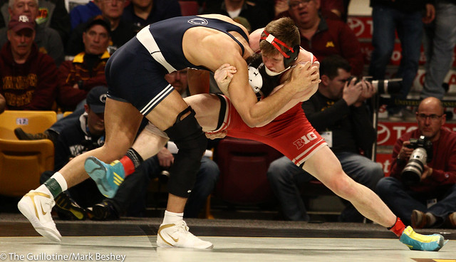 Semifinal - Skakur Rasheed (Penn State) 18-0 won by decision over Tyler Venz (Nebraska) 20-6 (Dec 6-5) - 190309bmk0168