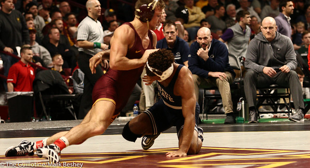 Semifinal - Mark Hall (Penn State) 25-0 won by decision over Devin Skatzka (Minnesota) 24-8 (Dec 4-2) - 190309bmk0138