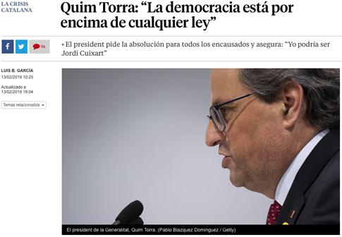 """19b13 Quim Torra """"La democracia está por encima de cualquier ley"""" Uti 485"""