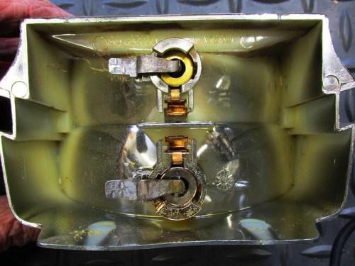 Tail Light Reflector Rear Detail: Top-Parking Bulb; Bottom-Tail Light Bulb