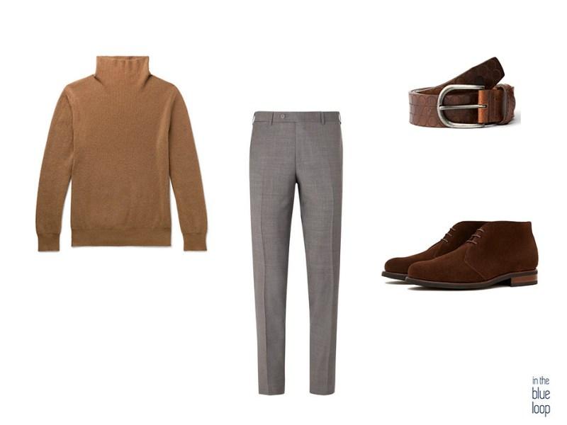 Look élégant et décontracté avec un pantalon de costume, une ceinture nublo à trous bleus, un col roulé et des bottes en daim brunes