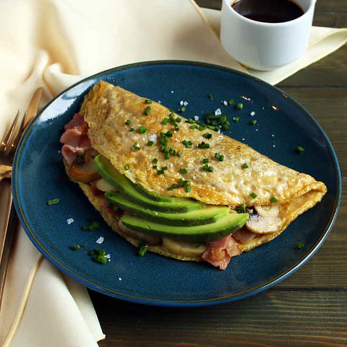 Keto Bacon, Mushroom, and Avocado Omelette Recipe