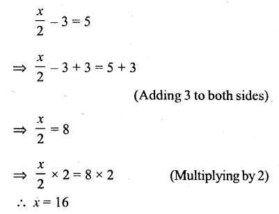 Selina Concise Mathematics Class 6 ICSE Solutions - Simple (Linear) Equations (Including Word Problems) - r13