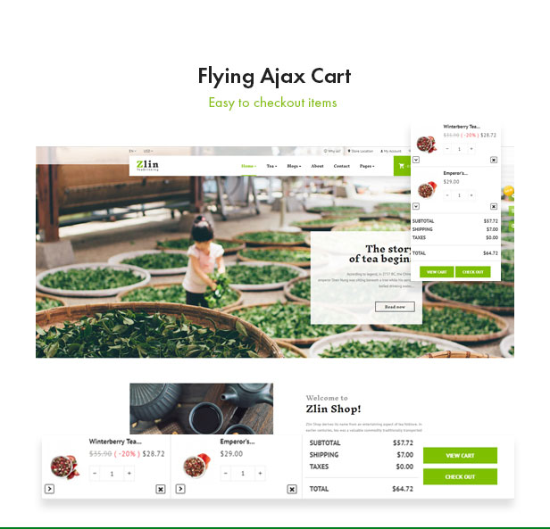 Leo Zlin - best prestashop tea shop theme - Flying Ajax Cart