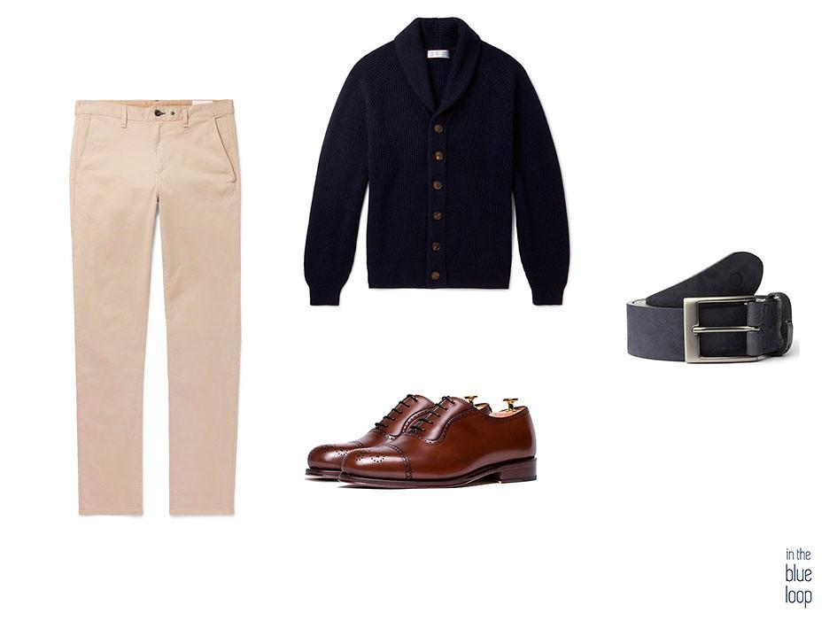 Outfit smart-casual chinos beige, zapatos oxford marrones, cinturón igara blue hole y cardigan