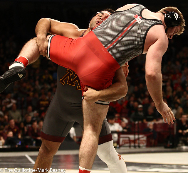 Champ. Round 1 - Gable Steveson (Minnesota) 29-0 won by tech fall over Christian Colucci (Rutgers) 15-12 (TF-1.5 6:38 (21-6)) - 1903amk0221