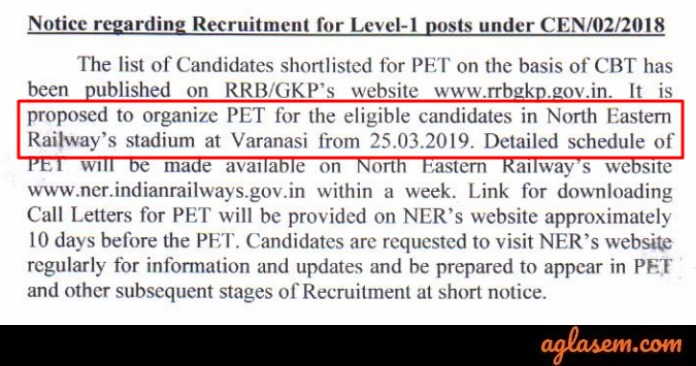 RRC North Eastern Group D PET Dates