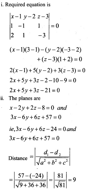 Plus Two Maths Chapter Wise Questions and Answers Chapter 11 Three Dimensional Geometry 45