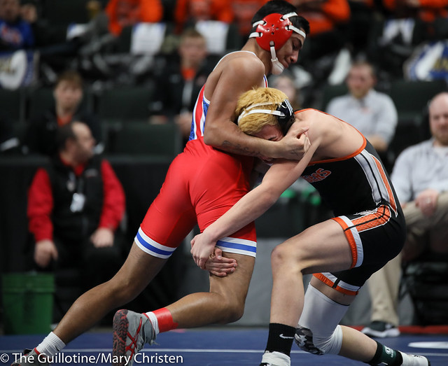 145 – Antonio Everett (Simley) over Noah Jensen (Marshall) TF 24-8. 190228BMC2187