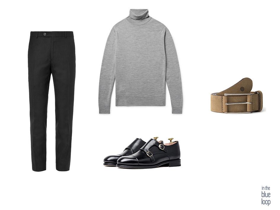Look smart-casual con pantalón negro, jersey de cuello vuelto, monk negro y cinturón Anaga Blue Hole