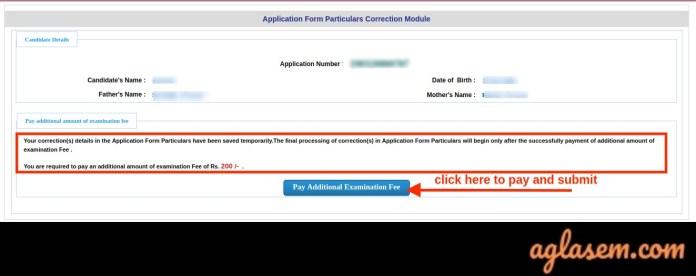 JEE Main Form Correction