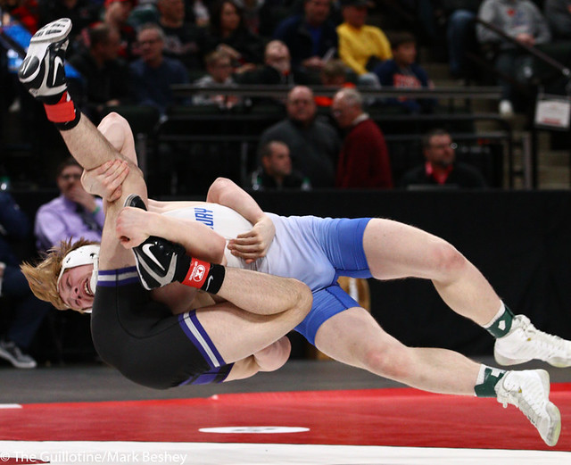 160AAA 1st Place Match - Gabe Nagel (Little Falls) 46-0 won by disqualification over Brock Rinehart (Woodbury) 47-4 (DQ) - 190302bmk0273