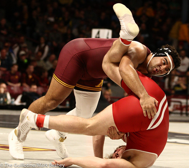 Semifinal - Gable Steveson (Minnesota) 30-0 won by decision over Trent Hilger (Wisconsin) 21-5 (Dec 10-4) - 190309bmk0173