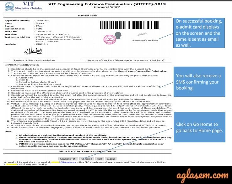 VITEEE 2021 Admit Card