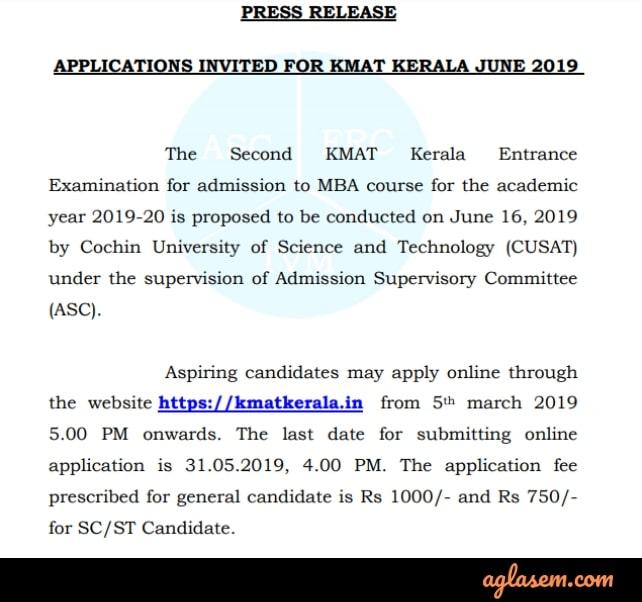 KMAT Kerala 2019 June Session Notification