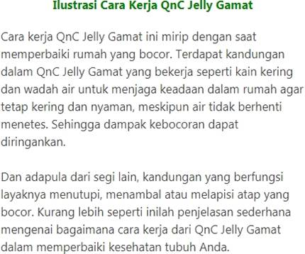Cara kerja obat asam urat QnC Jelly Gamat
