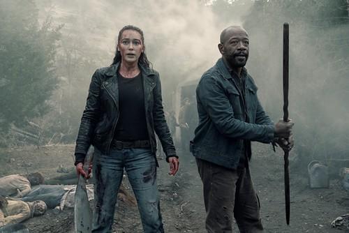 Alycia Debnam-Carey as Alicia Clark, Lennie James as Morgan Jones - Fear the Walking Dead _ Season 5, Episode 1 - Photo Credit: Ryan Green/AMC