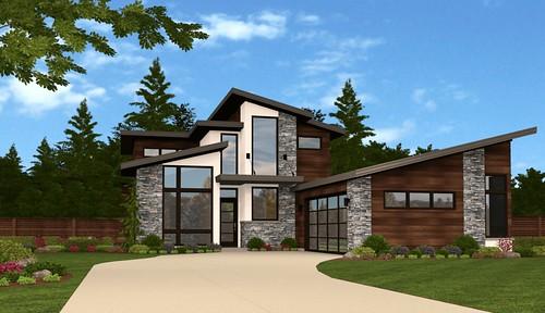 West 80th Exterior - Modern House Plan By Mark Stewart Design