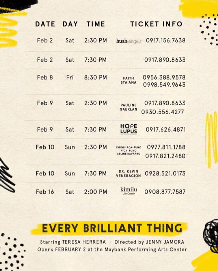 Every Brilliant Thing Feb 2-16