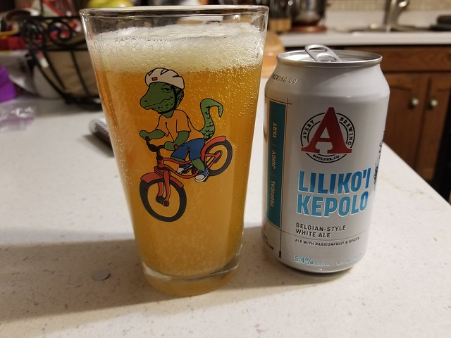 2019 Winking Lizard World Tour of Beers #4: Avery Brewing Company Liliko'i Kepolo Belgian-style white ale - Forget orange slices. Give me passion fruit in my Belgian white ale from now on.