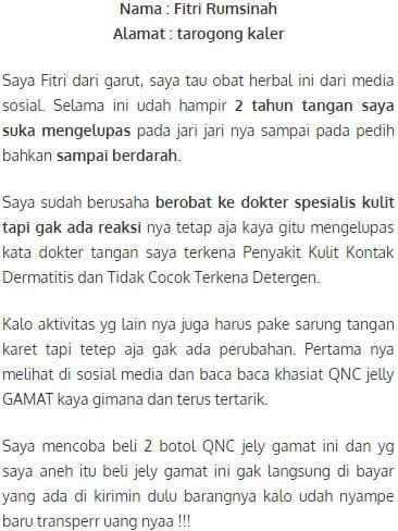 Penggunaan QnC Jelly Gamat Untuk Mengatasi Masalah Kulit