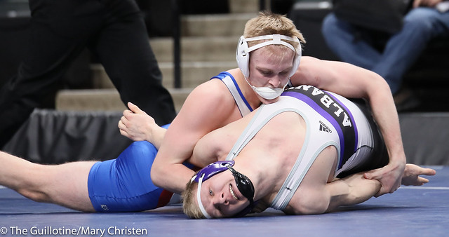 195AA Semifinal - Grant Parrish (Kasson-Mantorville) 29-5 won by decision over Gabe Zierden (Albany) 45-5 (Dec 15-10). 190302AMC3474