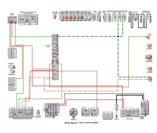 6 Series 1975-76: Horn Ground Path Wiring [SOURCE: Haynes Manual]                  --> CLICK TO ENLARGE