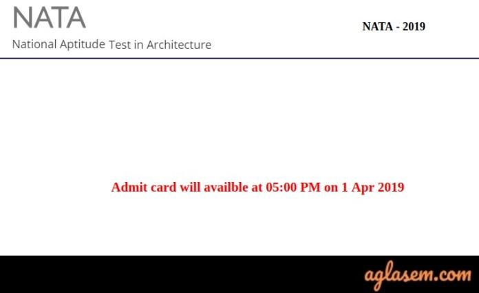 NATA 2019 Admit Card