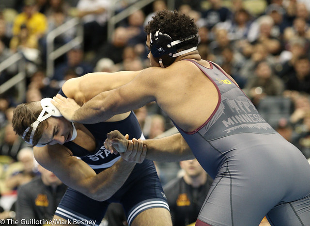 Semifinal - Anthony Cassar (Penn State) 29-1 won by decision over Gable Steveson (Minnesota) 33-2 (Dec 4-3) - 190322dmk0218