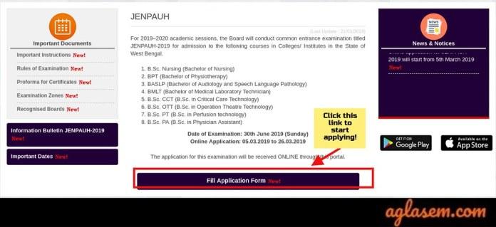 WBJEEB JENPAUH 2019Application Form