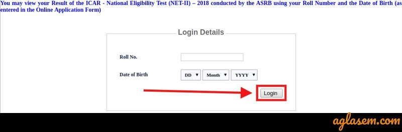 ICAR ASRB Result 2018 - Login page