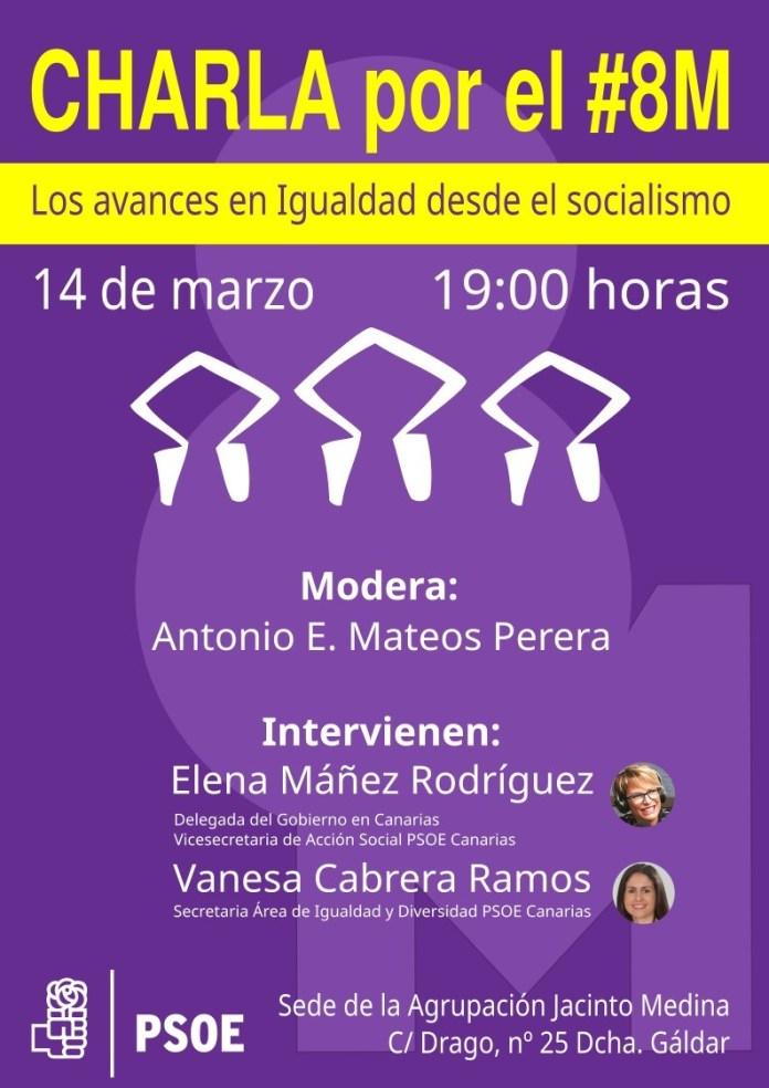 Charla por el 8M en la Agrupación Jacinto Medina del PSC de Gáldar