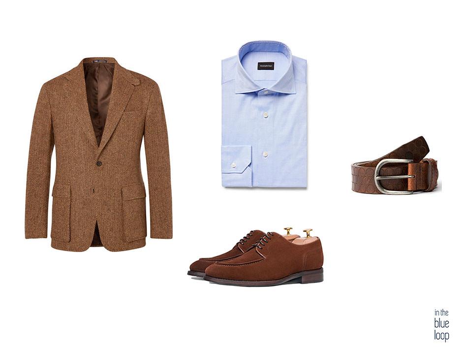 Samrt-casual con blazer, camisa azul, zapato derby con cinturón nublo blue hole