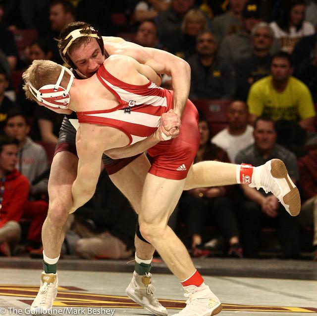 Champ. Round 1 - Steve Bleise (Minnesota) 18-4 won by decision over Jake Danishek (Indiana) 18-12 (Dec 8-5) - 1903amk0157
