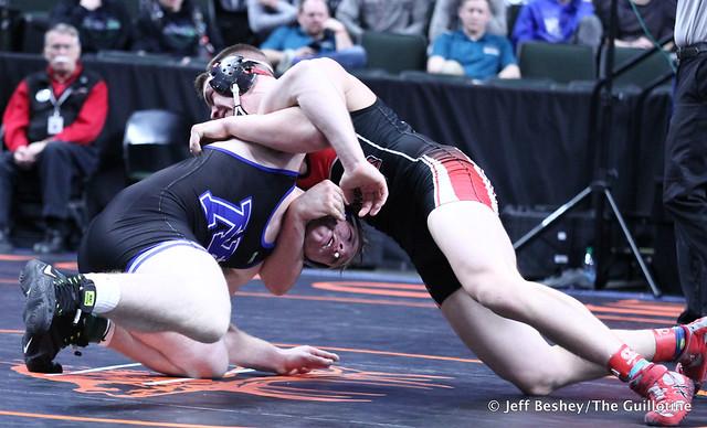 195A Semifinal - Tyler VanLuik (Minnewaska Area) 39-4 won by decision over Wyatt Olson (West Central Area-Ashby-Brandon-Evansville) 42-6 (Dec 5-3). 190302AJF0847