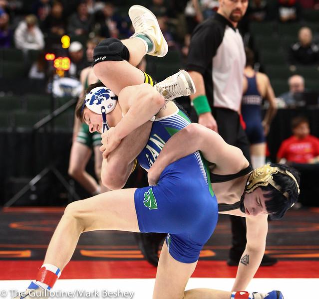 145 - Quarterfinal - Brady Gross (Apple Valley) 47-4 won by fall over Ty Gage (Eagan) 29-11 (Fall 1:58) - 190301amk0025