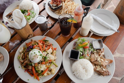 Lunch feast at Drop Off Bar & Grill - Almond fish, burger, and pan fried noodles