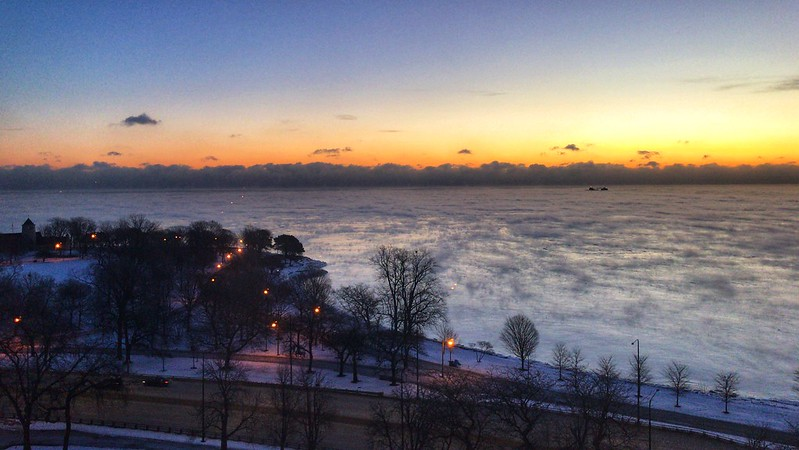Sea smoke on Lake Michigan