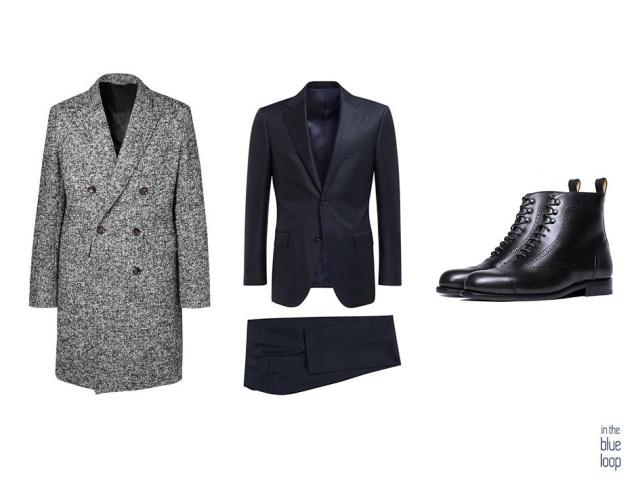 Look formal masculino con traje azul, abrigo y botas oxford negras
